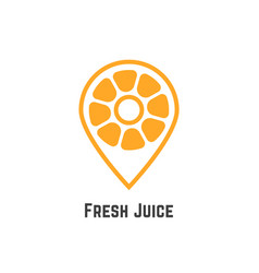 fresh juice with orange like map pin vector image