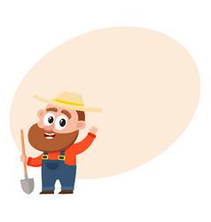 funny farmer gardener character holding shovel vector image