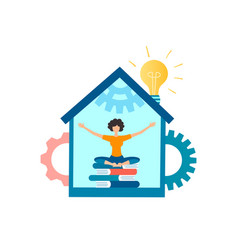 Girl in yoga pose at home vector