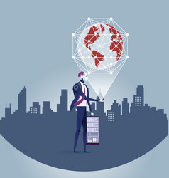 Globalization era globe in the robotic hand vector