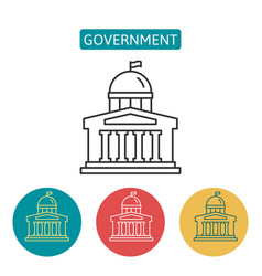 government building outline icons set vector image