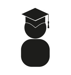 graduate sign black icon on vector image