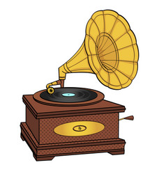 gramophone comic book pop art retro style vector image