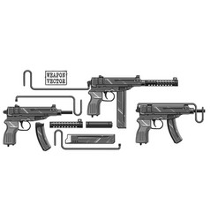 graphic silhouette submachine gun with ammo clip vector image