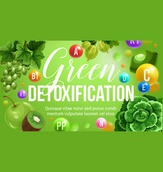 Green diet natural detoxification vitamins vector