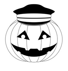 Halloween pumpkin with a police hat icon vector