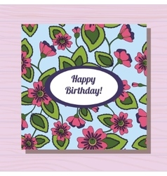 Happy birthday card on wooden background vector image