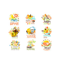 Happy summer vacation sunny colorful graphic vector