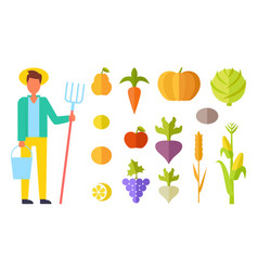 Harvester person with bucket vector