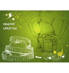 Health Lifestyle Green Background vector image