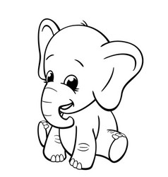Infant elephant sitting coloring book image vector