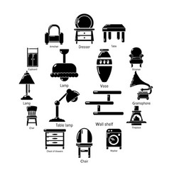 interior furniture icons set simple style vector image