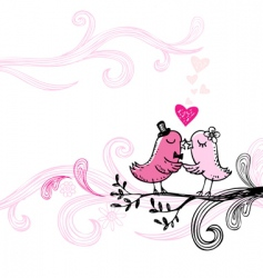 Kissing birds vector
