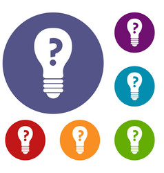 Light bulb with question mark inside icons set vector