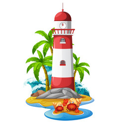 Lighthouse and hermit crabs on beach vector