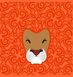 Lion abstract emblem mane oriental ornament wild vector