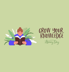 Literacy day girl reading book plant leaf banner vector