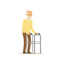 Male character old frail weak using walking vector