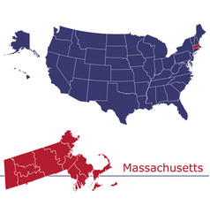 massachusetts map counties with usa map vector image