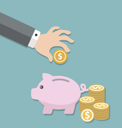money saving concept in flat style design piggy vector image