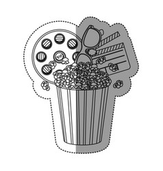Monochrome contour sticker with popcorn cup with vector
