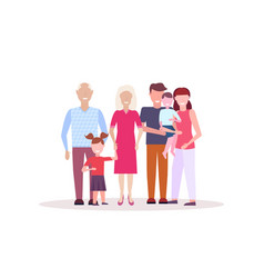 multi generation family standing together happy vector image