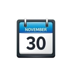 November 30 calendar icon vector