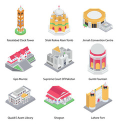 Pack buildings isometric icons vector