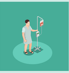 Patient with dropper isometric composition vector