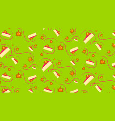 piece of cake with physalis green pattern vector image
