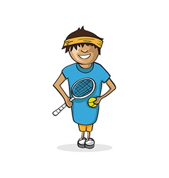 Professional tennis player man cartoon figure vector image