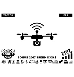 Radio Camera Airdrone Flat Icon With 2017 Bonus vector