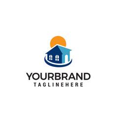 real estate sun logo design concept template vector image