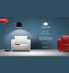 Realistic room interior background vector