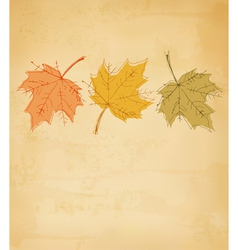 Retro autumn background with colorful leaves vector image