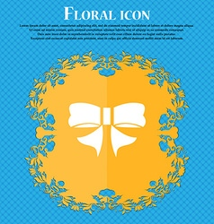 Ribbon Bow icon sign Floral flat design on a blue vector image