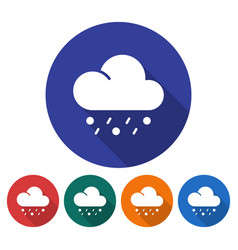 round icon of rain with hail flat style with long vector image