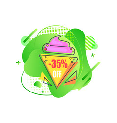 sale emblem 35 percent off abstract liquid shape vector image