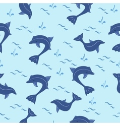Seamless pattern with cartoon blue dolphins vector