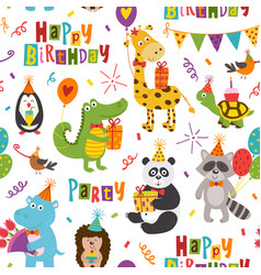 Seamless pattern with funny animals happy birthday vector