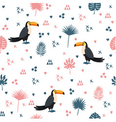 seamless pattern with toucan and leaves cute vector image