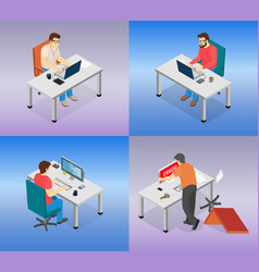 set about people using laptops vector image