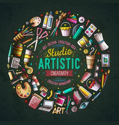 Set art cartoon doodle objects symbols and vector