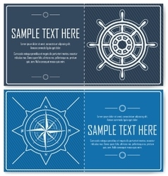Set of blue nautical flyers vector image vector image