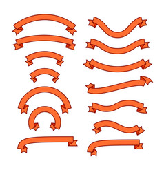 set of different ribbons orange tape banner vector image