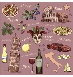 Set of Italy icons hand drawn vector image