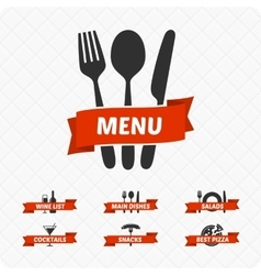 Set of restaurant signs symbols logo vector image