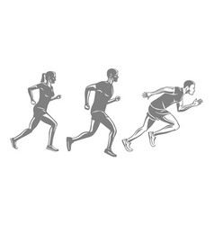 set of runners silhouettes men and woman run race vector image