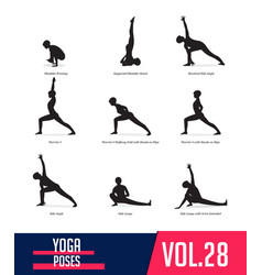 set silhouettes yoga poses vector image