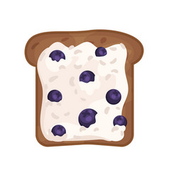slice of fresh toasted rye bread with cottage vector image
